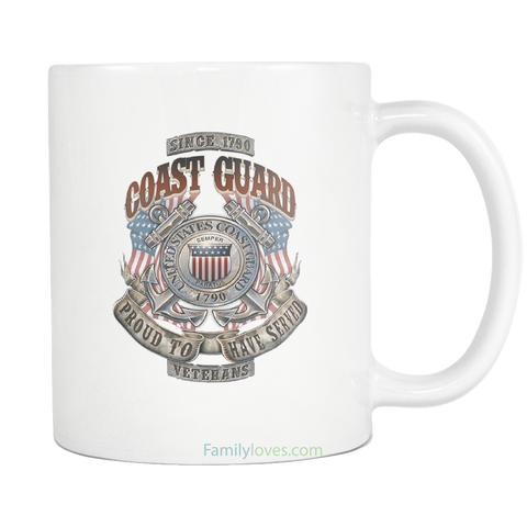 U.S COAST GUARD, PROUD TO HAVE SERVED, SINCE 1790 MUG Drinkware carthook_checkout, COAST GUARD, meta-related-collection-army, MILITARY, mug, veteran- Nichefamily.com