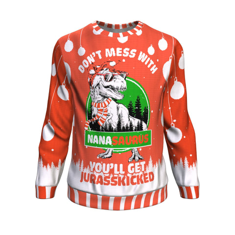 don't mess with nana saurus UGLY CHRISTMAS SWEATER Sweatshirt carthook_checkout, GRANDMA, GRANDMA GIFT, uglysweater- Nichefamily.com