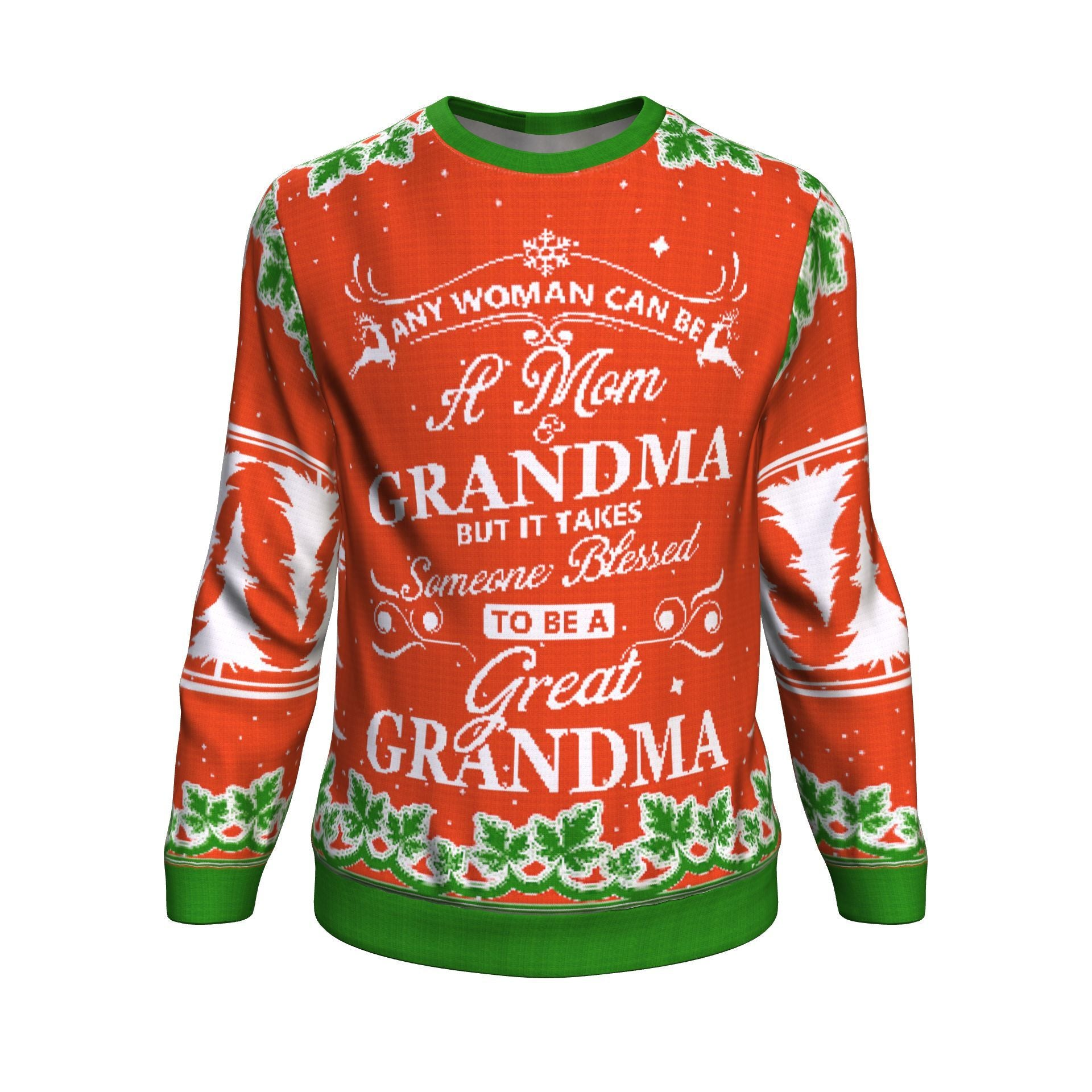 Buy any woman can be a mom grandma but it takes someone blessed to be a great grandma UGLY CHRISTMAS SWEATER - Familyloves hoodies t-shirt jacket mug cheapest free shipping 50% off