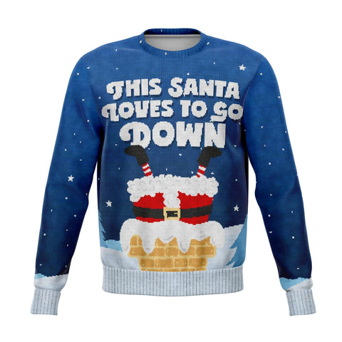 Santa Goes Down - Athletic Sweatshirt Athletic Sweatshirt - AOP christmas sweatshirt, sweater, SWEATSHIRT- Nichefamily.com