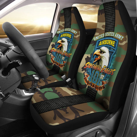101st Airborne, Screaming Eagles Car Seat Covers  101st airborne, airborne, carthook_checkout, meta-size-chart-car-seat, u.s veteran, veteran- Nichefamily.com