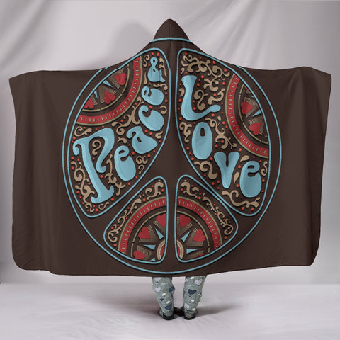 Peace Hippie Love Hooded Blanket  - Nichefamily.com
