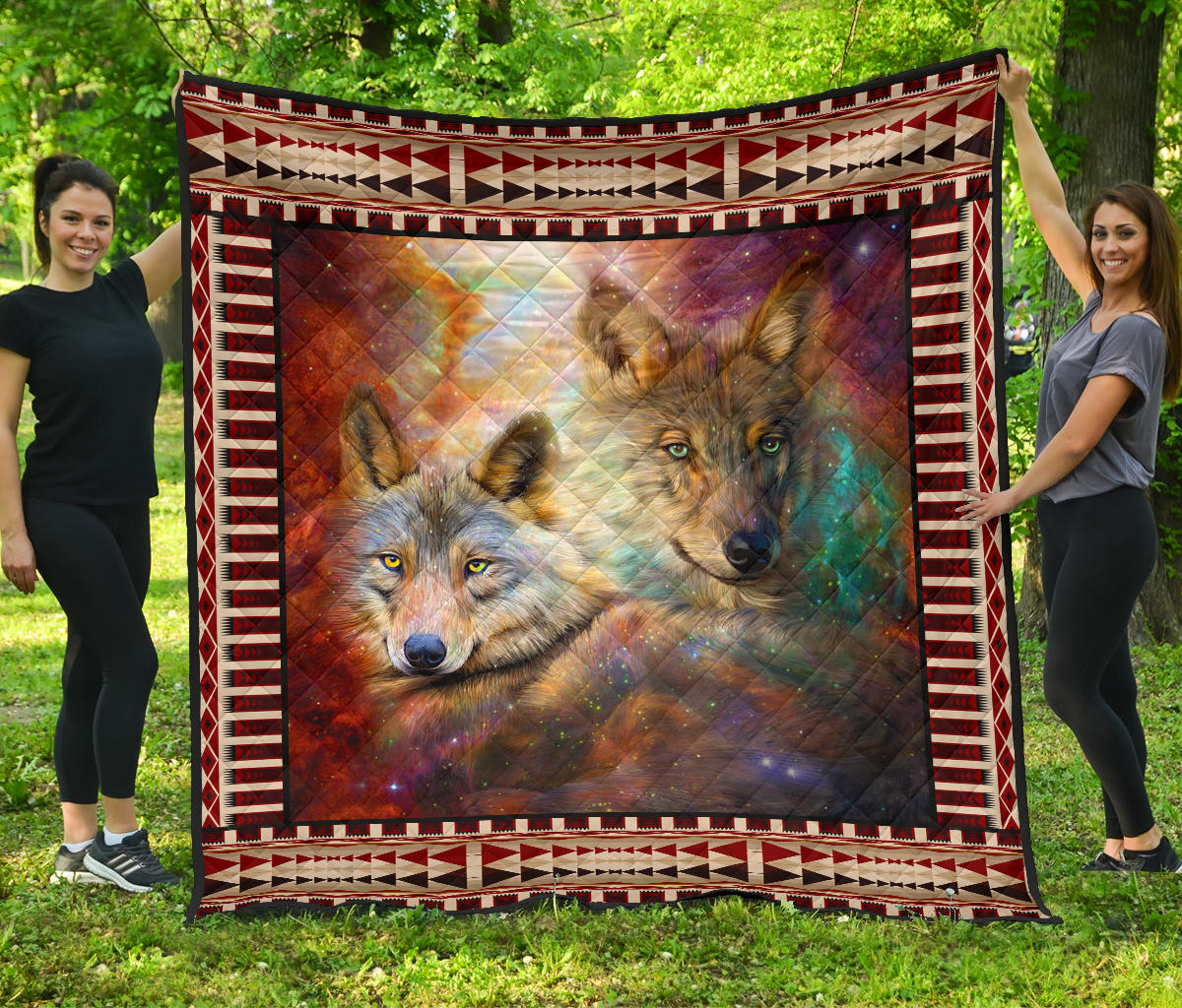 Native American Wolf Galaxy Quilts