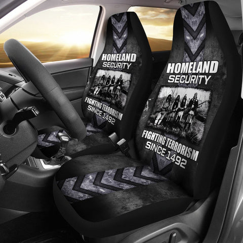 Homeland Security Fighting Terrorism Since 1492 Car Seat Cover  car seat covers, carthook_checkout, carthook_native, meta-size-chart-car-seat, native, Native America, Native American- Nichefa