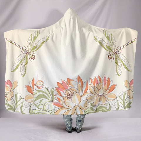 Lotus Dragonfly Pond Hooded Blanket  - Nichefamily.com