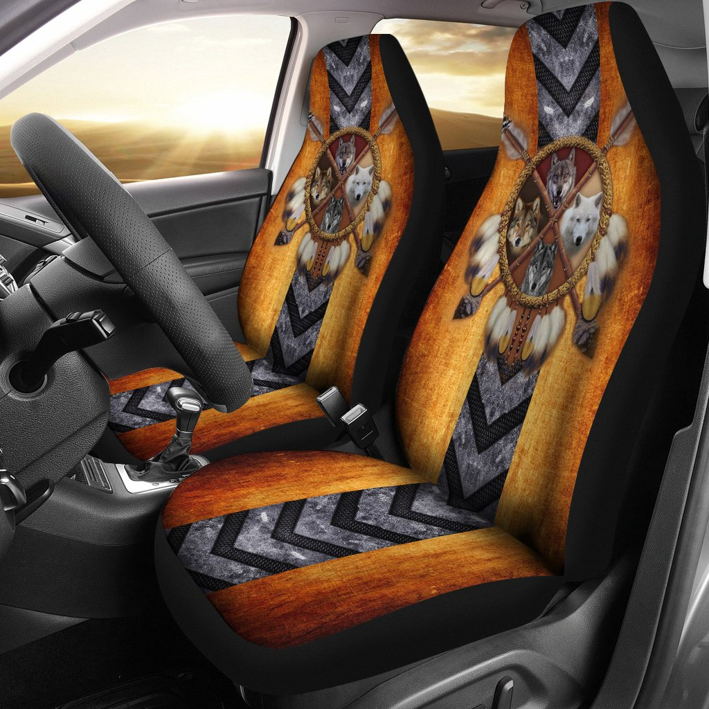 4 Wolves Dreamcatcher Native American Golden Brown Indian Car Seat Cover