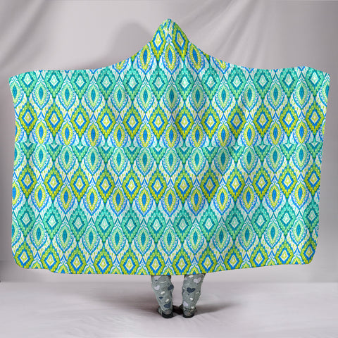 Boho Green Blue Pattern Hooded Blanket  - Nichefamily.com