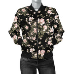 Pink Flower Pattern Bomber Jacket  - Nichefamily.com
