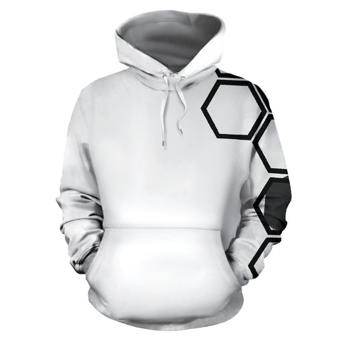 Hexagons white men's hoodie  - Nichefamily.com