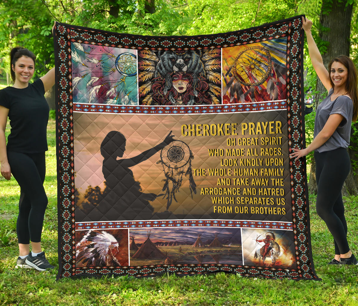 Cherokee Prayer, oh great spirit who made all races… Quilt Blanket