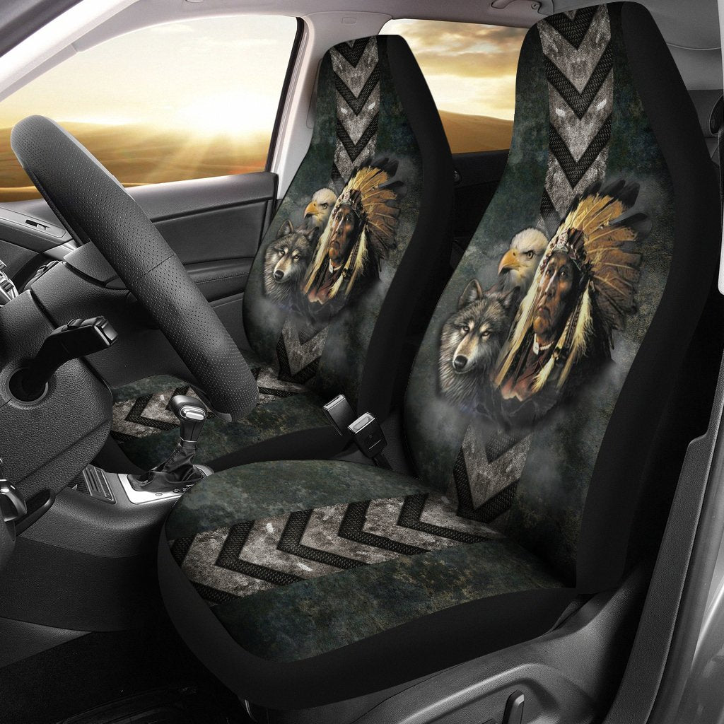 Native American indian eagle wolf spirit animals car seat cover