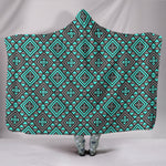 Boho Seamless Blue Pattern Hooded Blanket  - Nichefamily.com