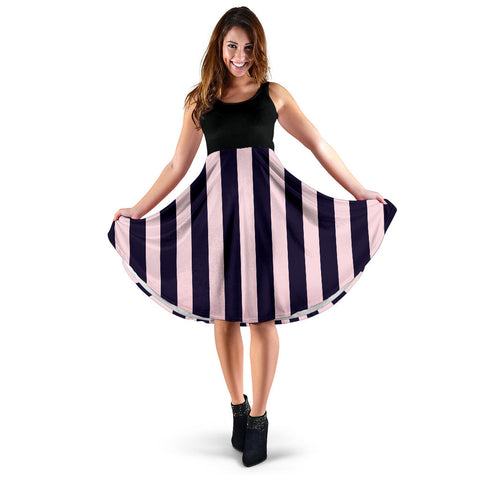 Strip-Black-001 Women Dress  - Nichefamily.com