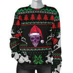 Ugly Christmas Santa Skull Black Women's Sweater  - Nichefamily.com