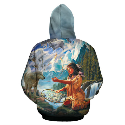 Buy 5D Diamond Painting Native Woman with Dreamcatcher and Wolves Over print hoodie - Familyloves hoodies t-shirt jacket mug cheapest free shipping 50% off