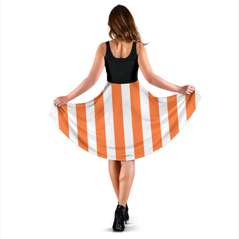 Strip-Orange-White-002 Women Dress  - Nichefamily.com