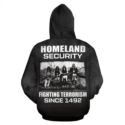 Buy Homeland security fighting terrorism since 1492 All Over Hoodie - Familyloves hoodies t-shirt jacket mug cheapest free shipping 50% off