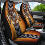 4 Wolves Dreamcatcher Native American Golden Brown Indian Car Seat Cover  car seat covers, carthook_checkout, meta-size-chart-car-seat, native, Native America, Native American- Nichefamily.co