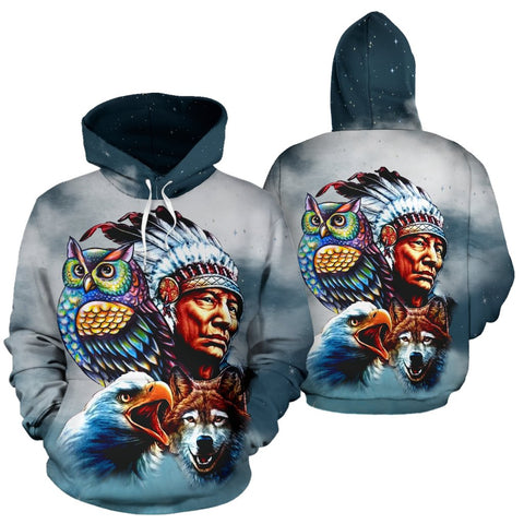 Chief & Spirit Animal Galaxy Background Native American Pride Over Print Hoodie  carthook_checkout, meta-size-chart-all-over-print-hoodie, native, Native America, Native American, native woma