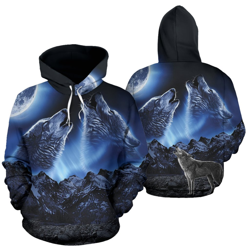Buy WOLVES HOWLING MOON All Over Hoodie - Familyloves hoodies t-shirt jacket mug cheapest free shipping 50% off