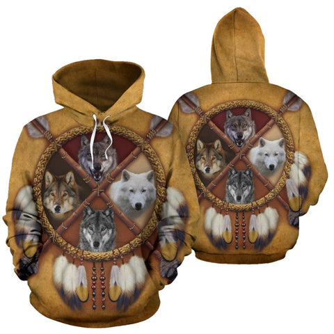 4 WOLVES DREAM CATCHER NATIVE OVER PRINT HOODIE  carthook_checkout, carthook_native, meta-size-chart-all-over-print-hoodie, native, Native America, Native American, over print hoodie, woman,