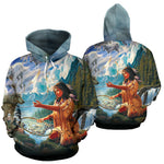 5D Diamond Painting Native Woman with Dreamcatcher and Wolves Over print hoodie  carthook_checkout, meta-size-chart-all-over-print-hoodie, native, Native America, Native American, Native Hood