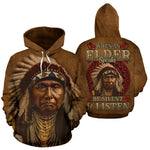 When an elder speaks be silent and listen over print hoodie  meta-size-chart-all-over-print-hoodie, native, Native America, Native American, native woman, over print hoodie, overprinthoodie,