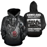 Homeland security fighting terrorism since 1492 All Over Hoodie  carthook_checkout, meta-size-chart-all-over-print-hoodie, native, Native America, Native American, native woman, overprinthood