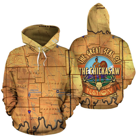 THE GREAT SEAL OF THE CHICKASAW NATION OVER PRINT HOODIE  meta-size-chart-all-over-print-hoodie, native, Native America, Native American, over print hoodie- Nichefamily.com