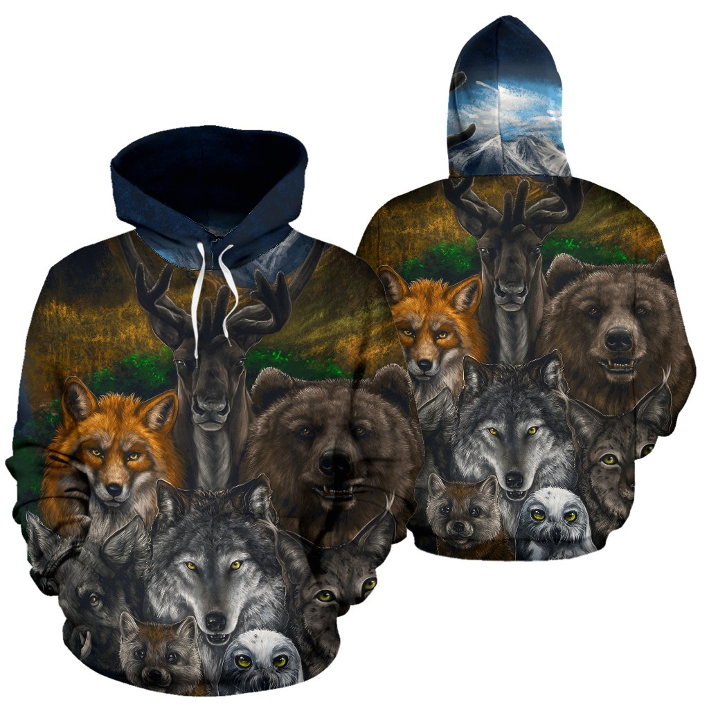 Buy Native American - Bear Wolf Owl Fox 3D All Over Hoodie - Familyloves hoodies t-shirt jacket mug cheapest free shipping 50% off