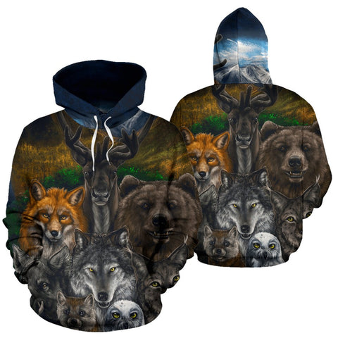 Native American - Bear Wolf Owl Fox 3D All Over Hoodie  carthook_checkout, meta-size-chart-all-over-print-hoodie, native, Native America, Native American, native woman, overprinthoodie- Niche