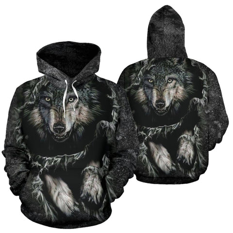 Breakthrough Wolf All Over Hoodie  carthook_checkout, meta-size-chart-all-over-print-hoodie, native, Native America, Native American, Native Hoodie, overprinthoodie- Nichefamily.com