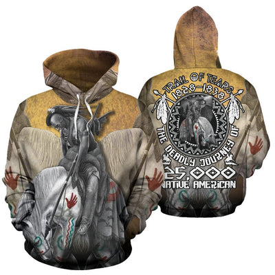 TRAIL OF TEARS 1828-1838 THE DEADLY JOURNEY 125.000 NATIVE AMERICAN HOODIE