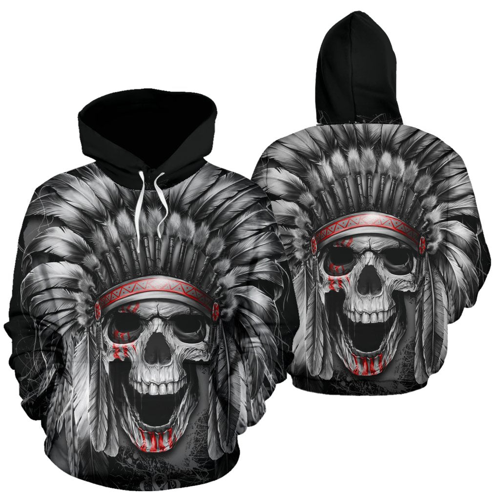 SKULL NATIVE AMERICA ALL OVER HOODIE