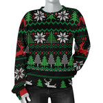 Ugly Christmas Red Green Black Women's Sweater  - Nichefamily.com