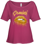 Gemini Zodiac Birthday Golden Lips T Shirt for Black Women Apparel - Nichefamily.com