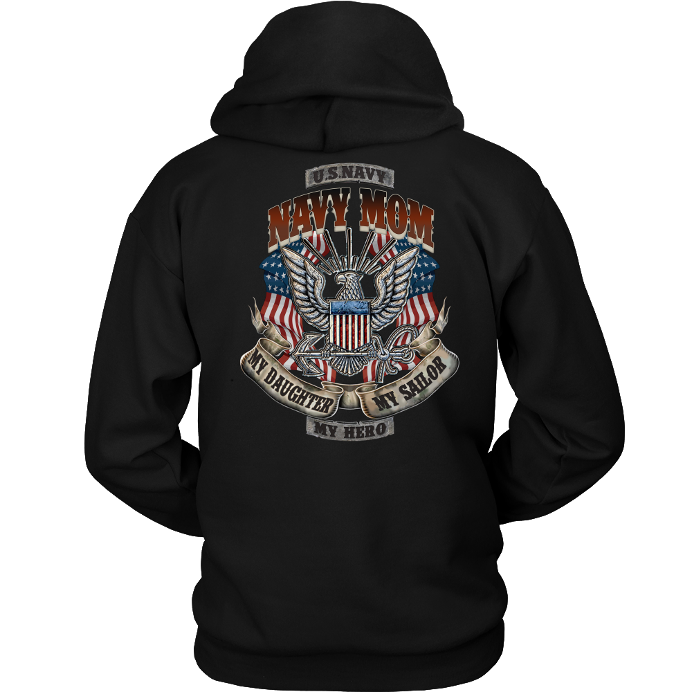 Buy NAVY MOM MY Daughter MY HERO MY SAILOR HOODIE - Familyloves hoodies t-shirt jacket mug cheapest free shipping 50% off