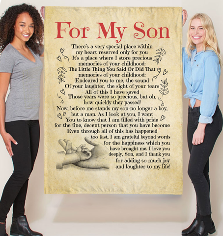Love For My Son Quotes Sherpa Fleece Blanket Fleece Blankets - Nichefamily.com