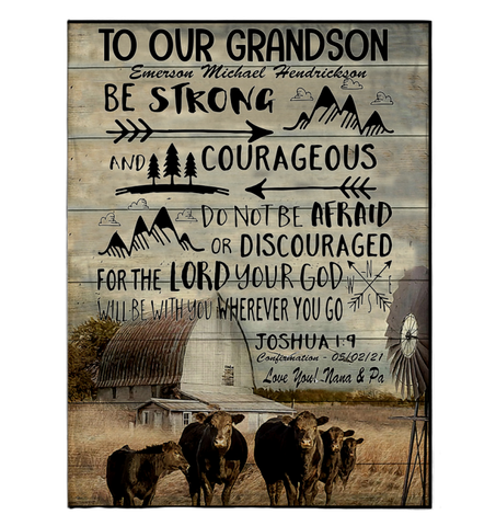 "Be Strong And Courageous Do Not Be Afraid Or Discouraged Sherpa Fleece Blanket - 60"" x 80"" Fleece Blankets - Nichefamily.com"