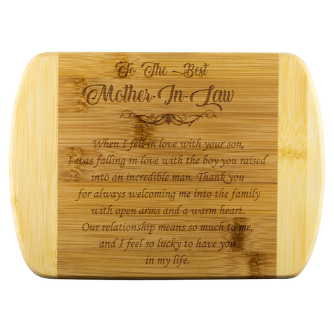 To The Best Mother In Law bamboo cutting board Organically Grown Bamboo (son)