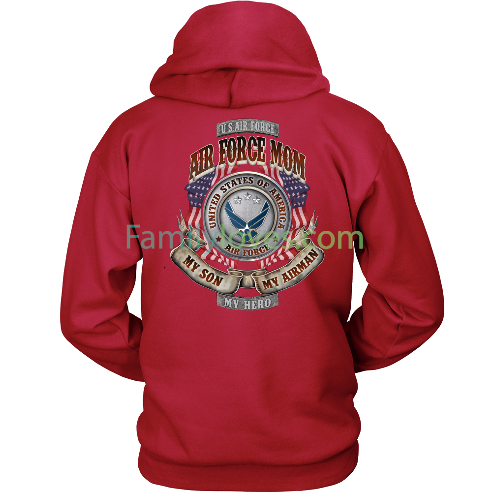 484d73ef4e AIR FORCE MOM, MY SON MY AIRMAN MY HERO HOODIE - nichefamily