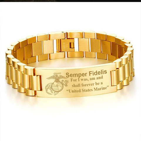 Semper fidelis for i was am and shall forever be a United States Marine men's bracelets  bracelet, carthook_checkout, carthook_marine_embroidered, carthook_semperbracelet, marine corps, Men G