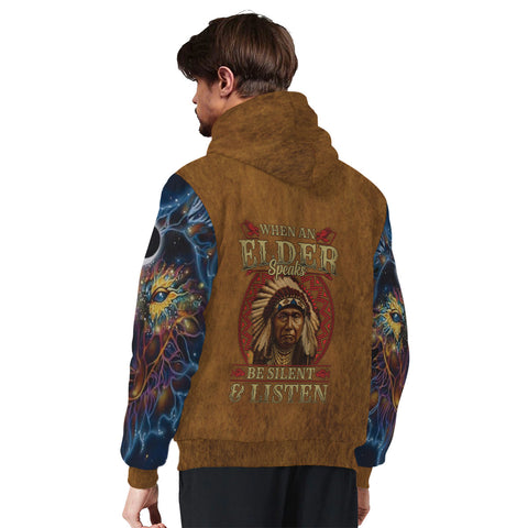 WHEN AN ELDER SPEAKS BE SILENT AND LISTEN Sherpa Hoodie AOP Sherpa Hoodie native, Native America, Native American- Nichefamily.com