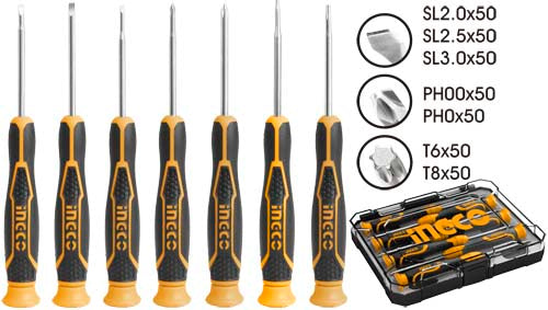 INGCO HKSD0718 7PCS PRECISION SCREWDRIVER SET