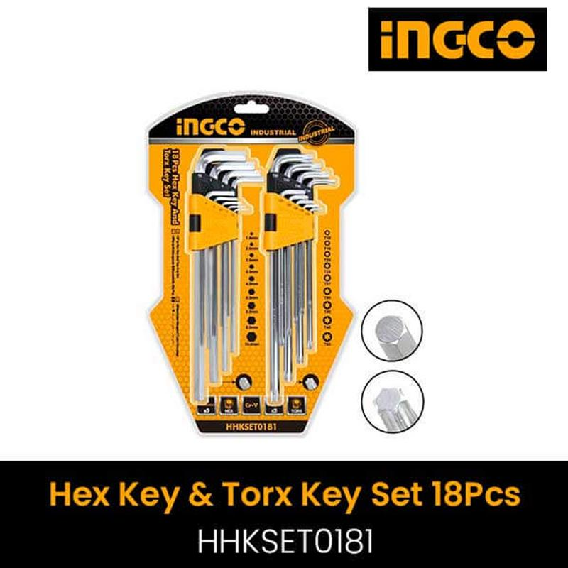 INGCO 18PCS HEX KEY AND TORX KEY SET HHKSET0181