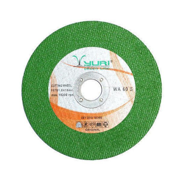 YURI 4INCH 107X1.0X16 MM GREEN CUTTING WHEEL - PACK OFF 5