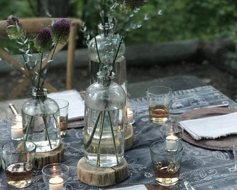 set of glassware on picnic table