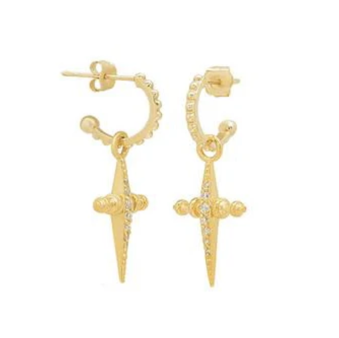 LUVAJ PAVE MINI CROSS HOOPS GOLD