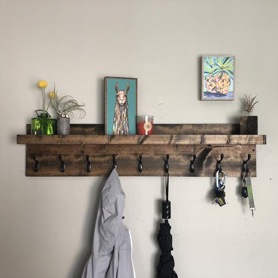 Key and Coat Rack | Entryway Organizer Towel Rack Key Hooks Wall Mounted Catch All Leash Mask Holder Rustic Modern Unique With Shelf by DistressedMeNot