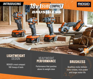 Ridgid has released 4 new 18V subcompact brushless power tools with a new 1/2″ drill, impact driver, 3/8″ impact wrench and multi-material saw!